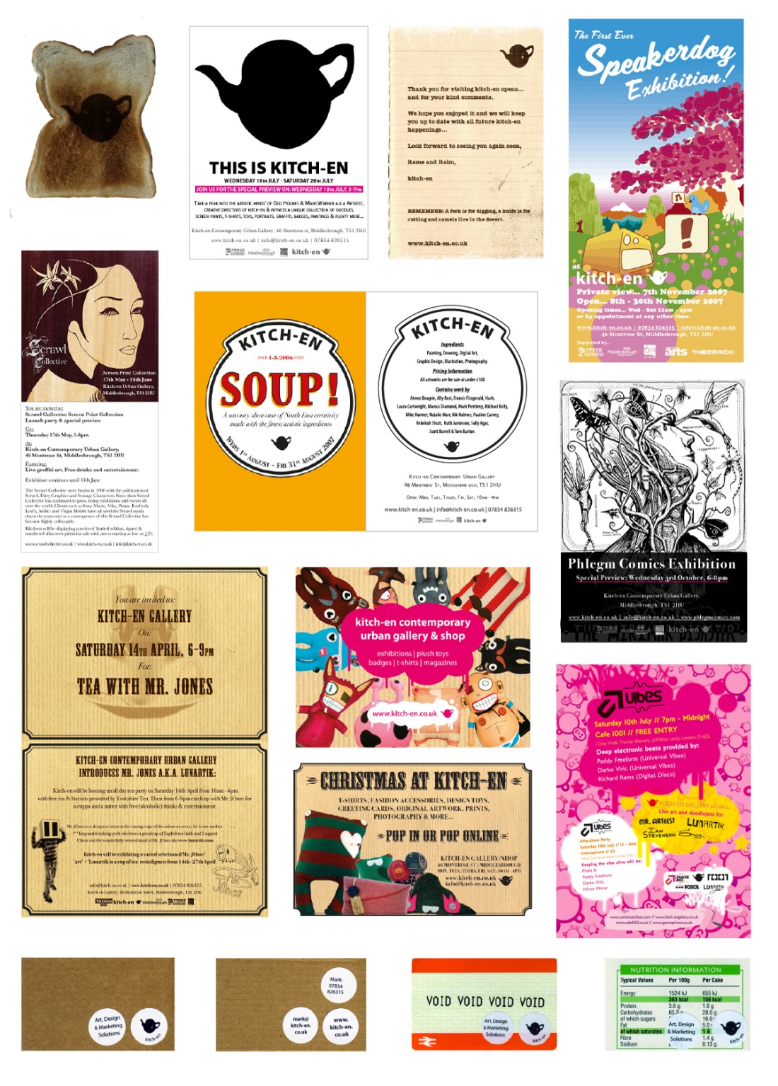 Kitch-en Gallery Variety of Promotional Items, e-Flyers, Business Cards, Postcards