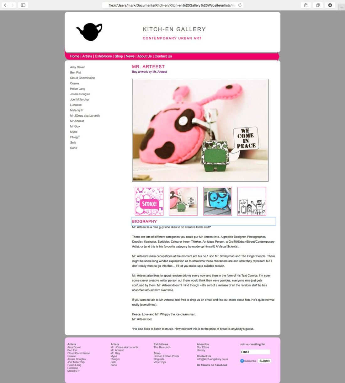 Kitch-en Gallery Website Design and Build