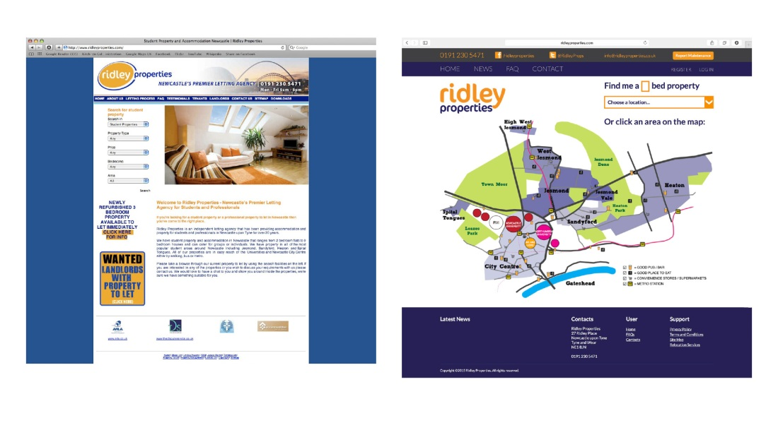 Ridley Properties Old vs New Website Redesign (Homepage)