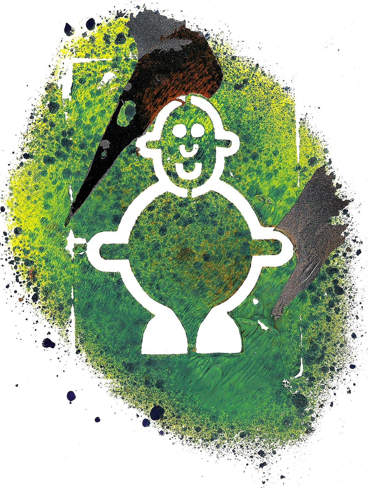 Mr Smileyman Art Print, Stencil
