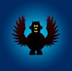 Mr Smileyman Halloween Winged Monster Illustration