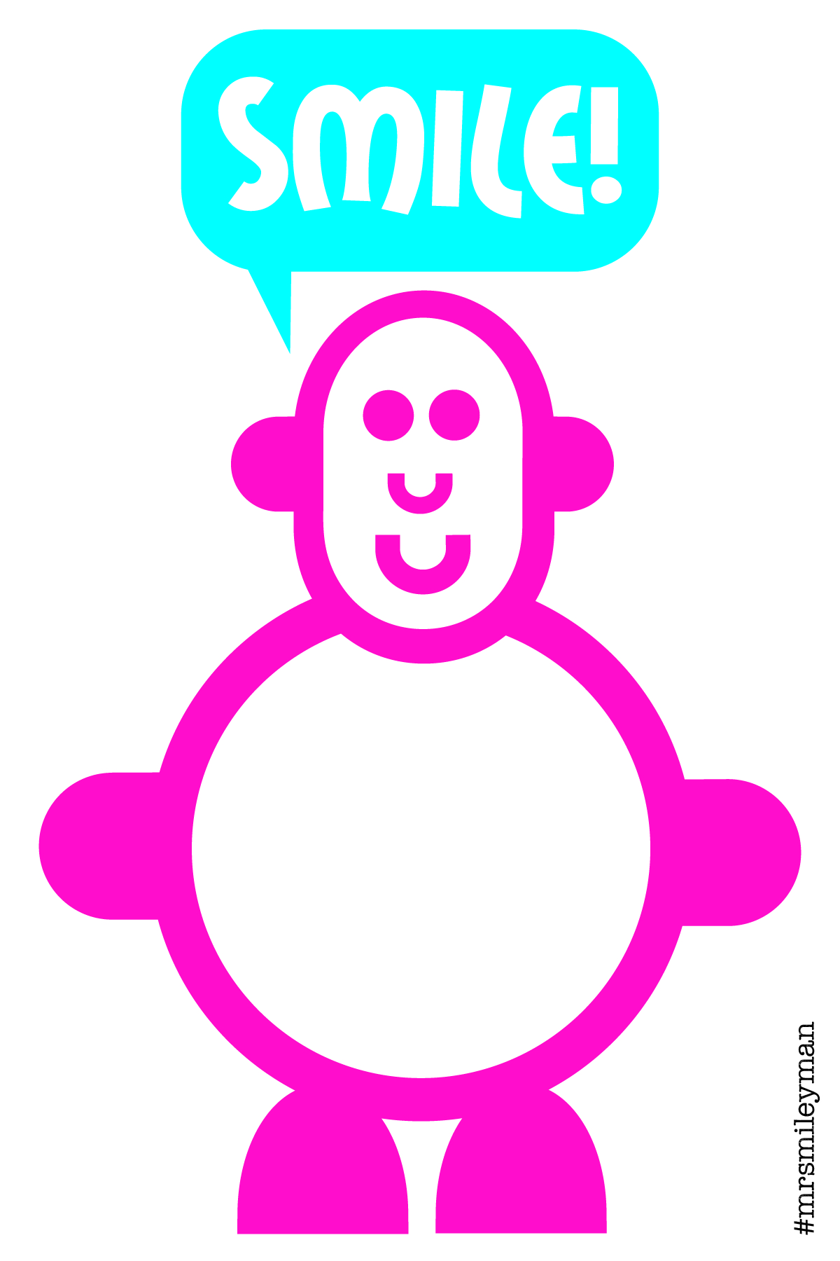 Smiling cute pink character with speech bubble saying Smile