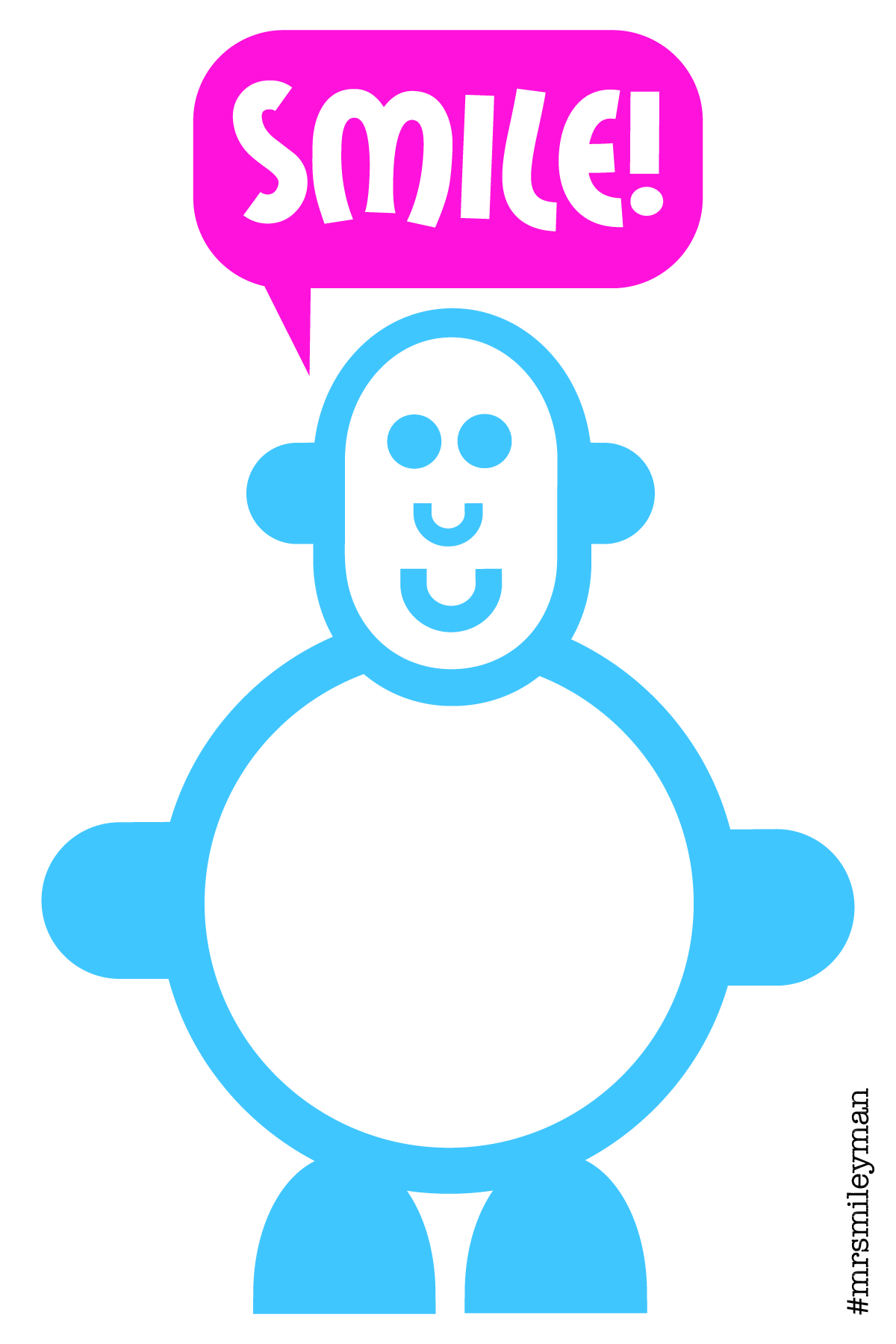 Smiling cute blue character with speech bubble saying Smile
