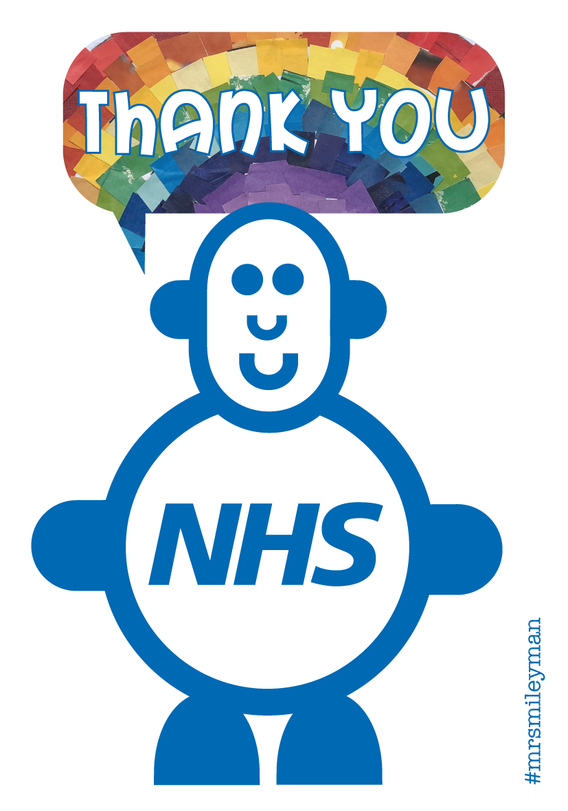 Smiling cute blue character in blue with rainbow speech bubble saying Thank You to the NHS