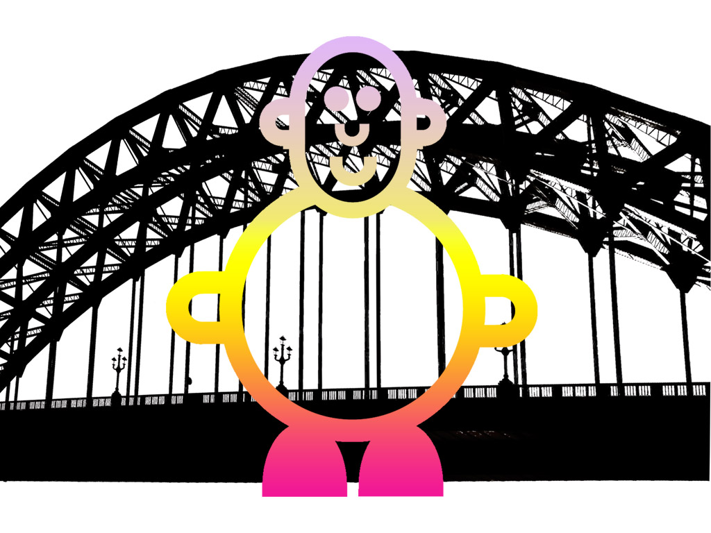 Smiling cute pink and yellow character with silhouette of Tyne bridge