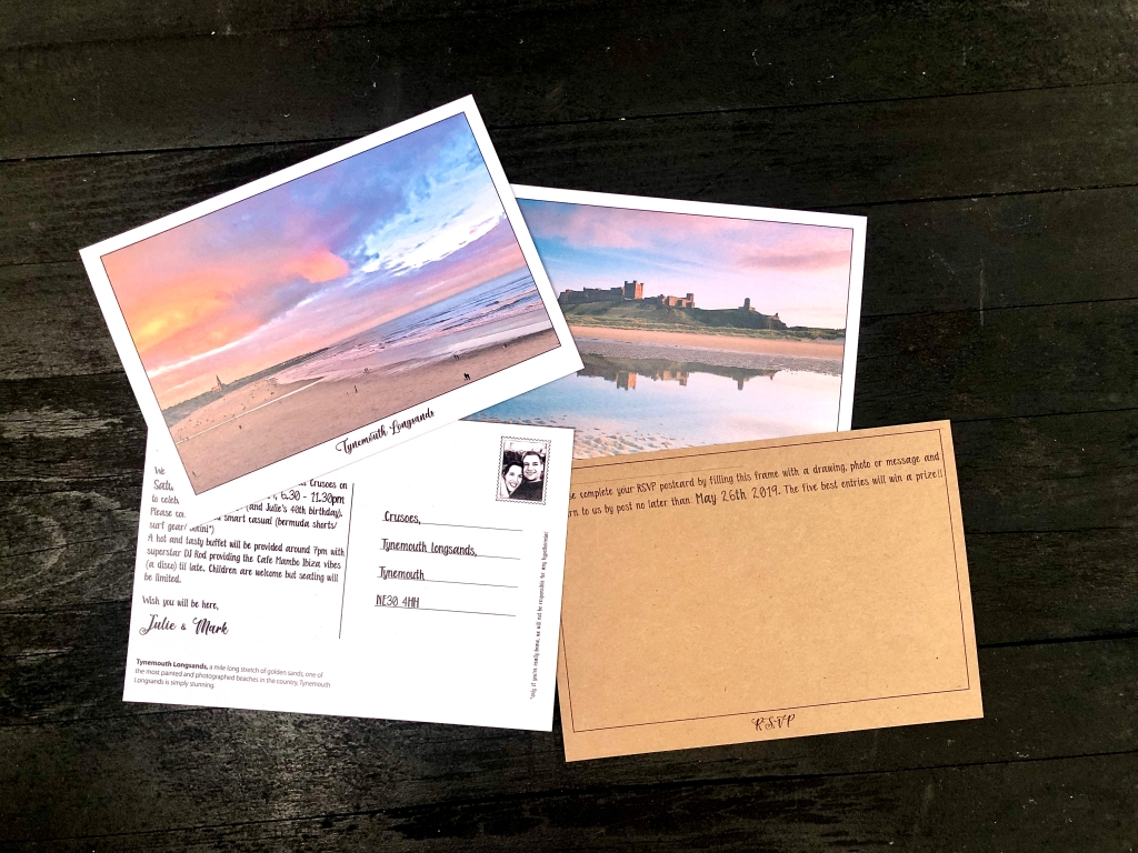 Postcard style, beach themed wedding invites and RSVP on recycled card for wedding in Northumberland