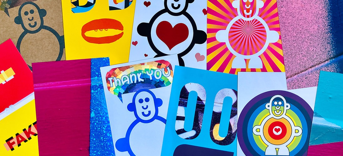 a selection of free postcards with bright and colourful designs