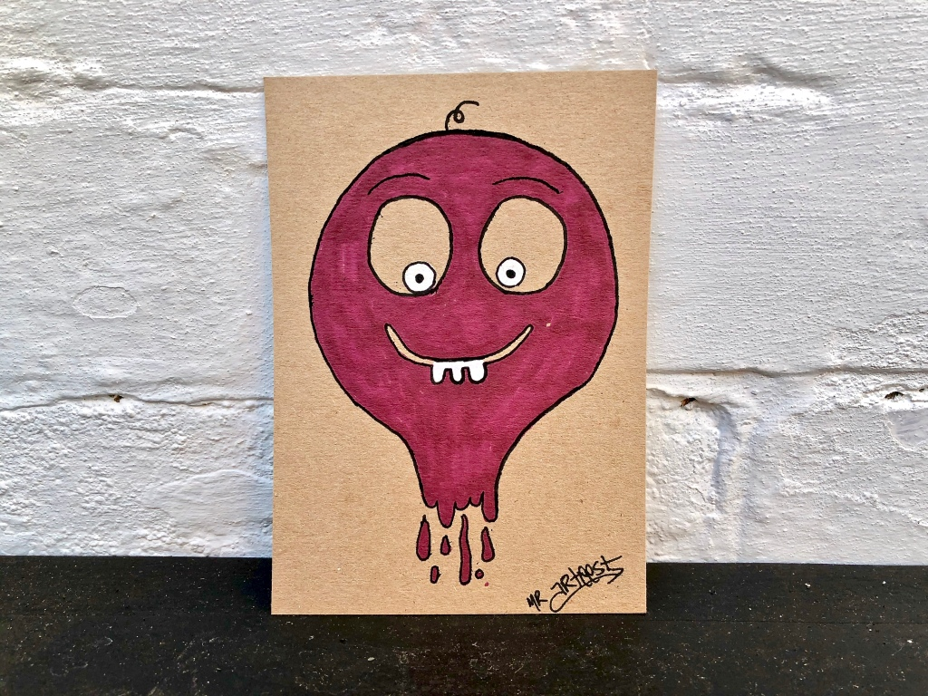 signed original artwork with doodle drawing of pink monster character like a balloon