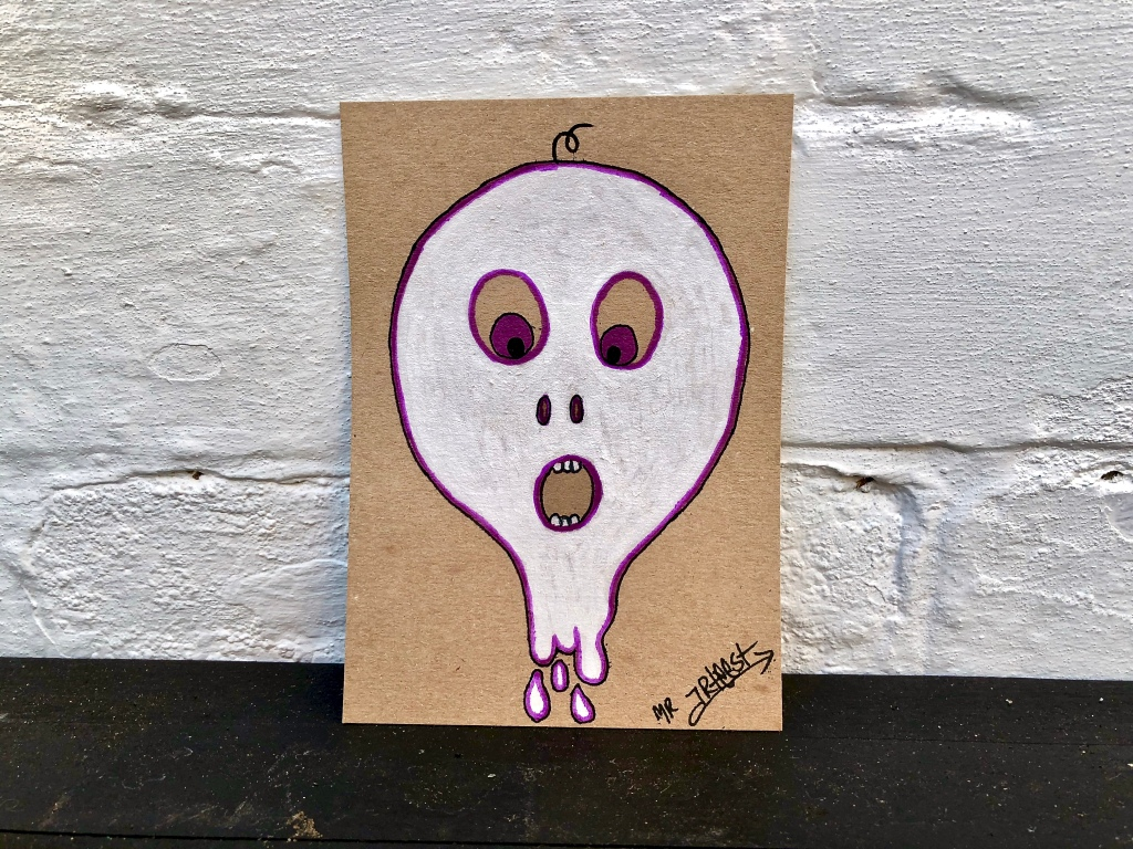 signed original artwork with doodle drawing of white monster character like a balloon