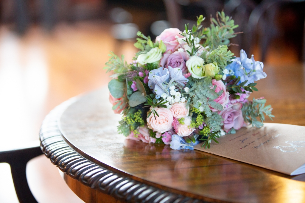 Pink and blue fresh wedding flower bridal bouquet locally sourced from Northumberland
