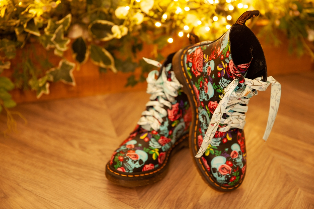 Dr Martens bridal shoes with ribbons blue skulls pink roses