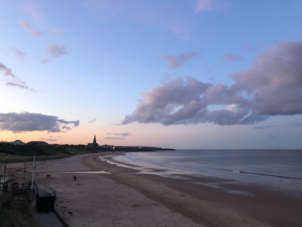 Dusky skies over Tynemouth Longsands Beach, North East England, the setting for our Wedding reception