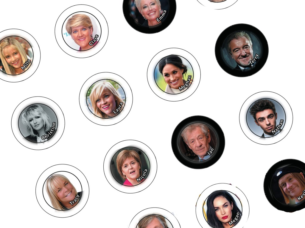 Faces of celebrities like meghan markle and Ian Mckellen with names on for making badges