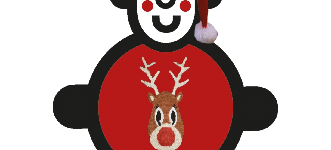 illustrated smiling character with a reindeer christmas jumper